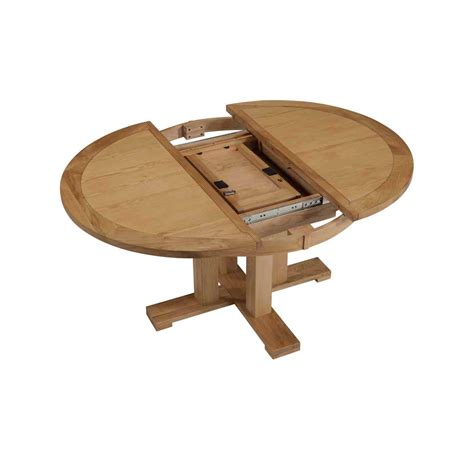 Contemporary Pine Wood Round Extendable Dining Table