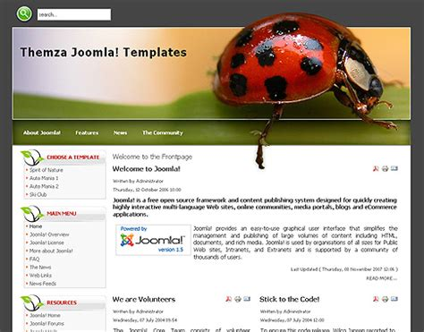 templates for x theme free joomla 1 5 x templates spirit of nature by themza