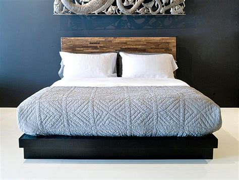 low reclaimed wood bed with headboard decoist