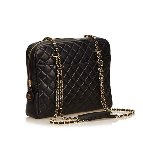 Black Quilted Chain Shoulder Bag by Chanel Black Quilted Lambskin Chain Shoulder Bag For Sale
