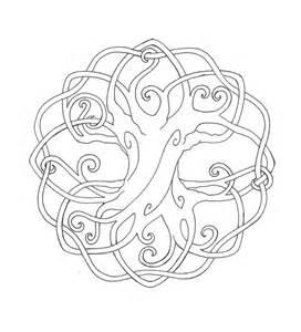 celtic mandala black and white celtic tree of cross printable coloring book tree