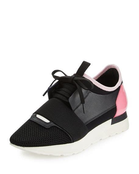 pink balenciaga sneakers balenciaga mixed media leather lace up sneaker black pink
