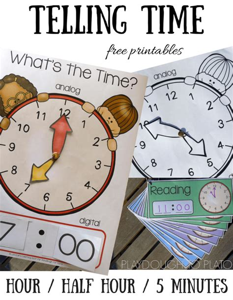 printable interactive clock telling time playdough to plato