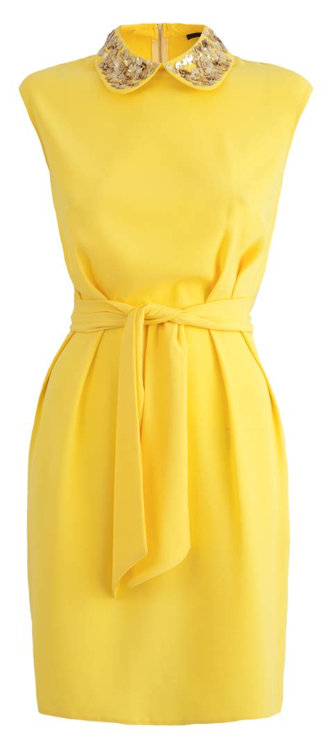 Dress Yellow this dress is the colour of summer we also the jewelled collar and relaxed waist tie 163 47