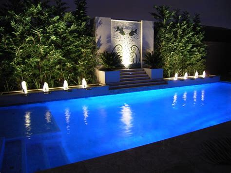 Landscape Lighting Around Pool - pool water features contemporary pool melbourne by h2o designs