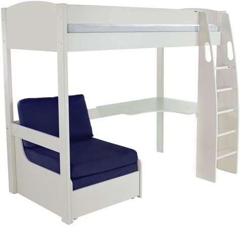 White High Sleeper Bed Frame Buy Stompa White High Sleeper Frame Including Desk And Blue Chair Bed Cfs Uk