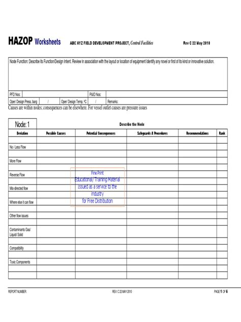 hazop template xls hazop worksheet template free printables worksheet