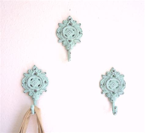 3 wall hooks shabby chic decor cast iron french by