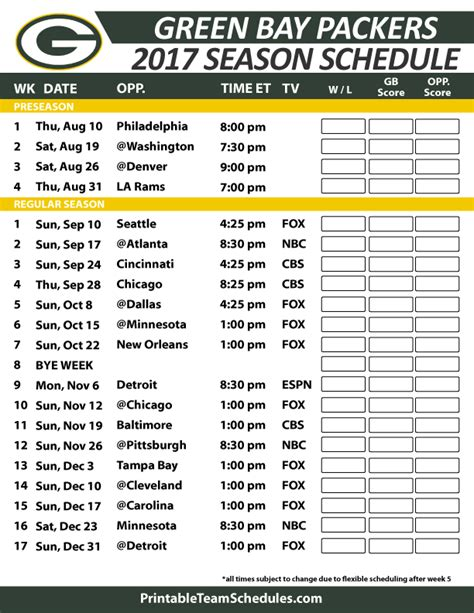 printable packers schedule green bay packers football schedule 2017 nfl football