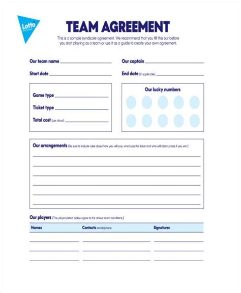 lottery agreement template sle lottery syndicate agreement forms 8 free