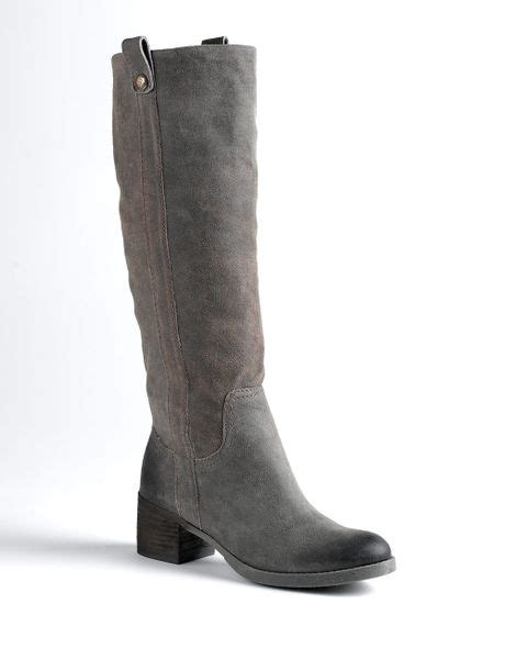 bcbgeneration hans split suede knee high boots in gray