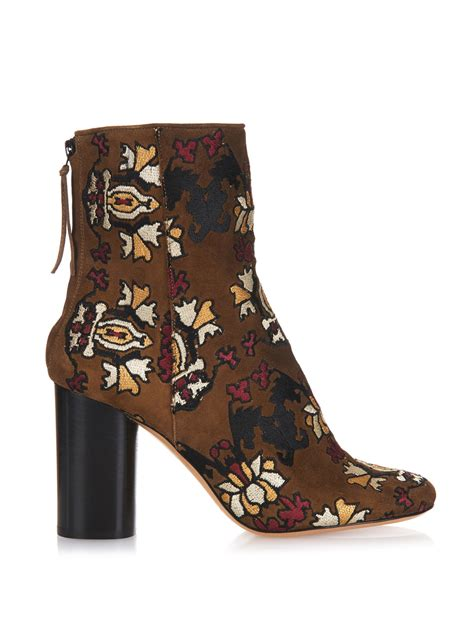 embroidered boots marant guya embroidered suede ankle boots in brown