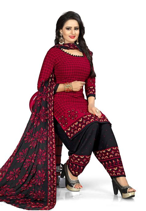 maroon printed synthetic unstitched salwar  dupatta