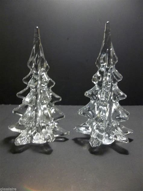 vintage art glass christmas tree set of 2 crystal clear
