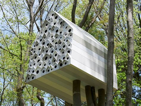 external storage tree house bird apartment by nendo