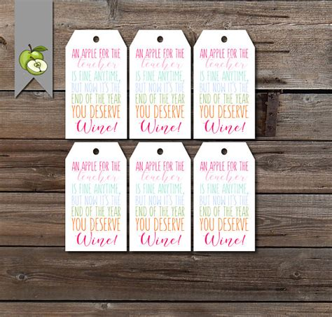 printable wine gift certificates teacher wine tag gift tags teacher gift end of year tag