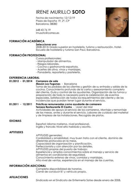 Modelo Curriculum Vitae Para Hosteleria modelos de curr 237 culum vitae para encontrar trabajo livecareer