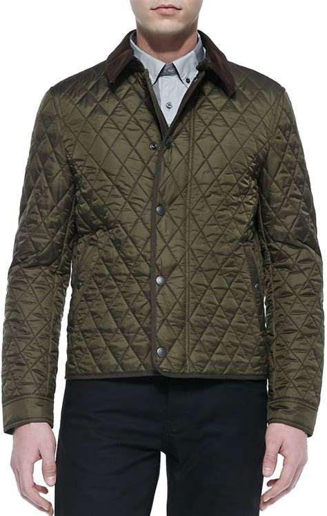 Burberry Quilted Barn Jacket by Burberry Brit Corduroy Collar Quilted Jacket Olive