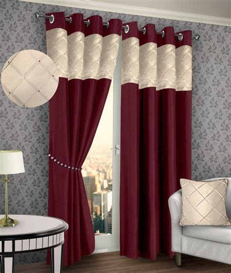 pintuck drapes ring top eyelet lined pintuck curtains faux silk burgundy