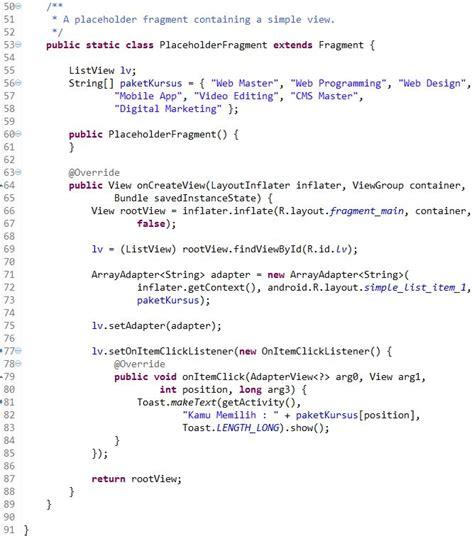 cara membuat web xml cara membuat listview dengan toast di android