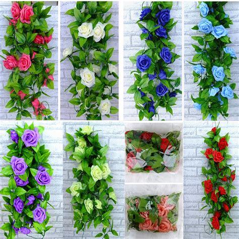 artificial rose silk flowers ivy vine leaf garland wall