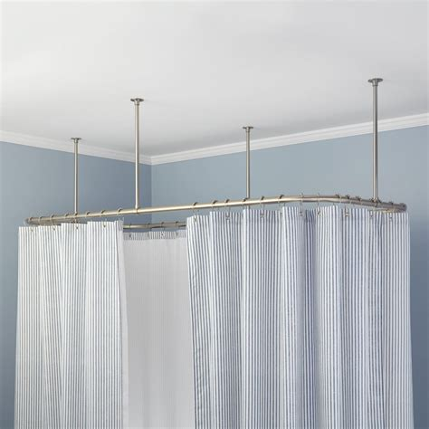 ceiling curtain rods rectangular ceiling mount shower curtain rod bathroom