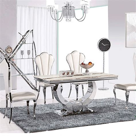 marble and stainless steel dining table 4 person dining table and chair marble top dining table