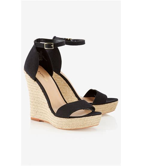express sandals express espadrille wedge sandal in black lyst