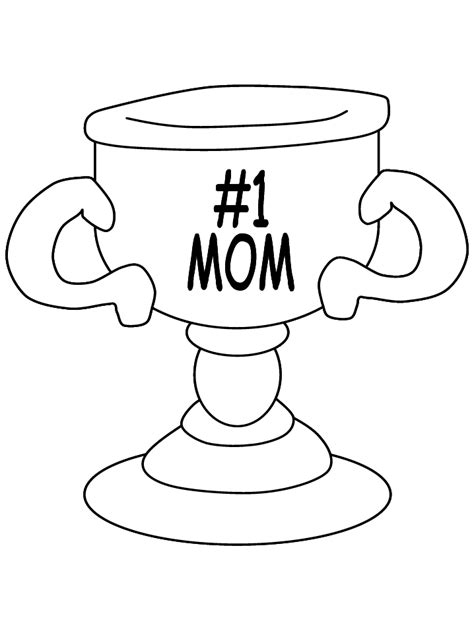 1 mom trophy coloring page only for kids with the best