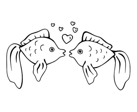 kissing fish coloring page download online coloring pages for free part 39