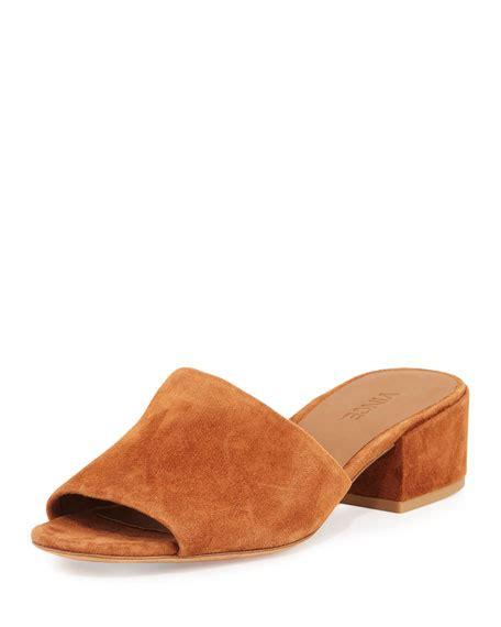 Block Heel Slide Sandals vince rachelle 2 suede block heel slide sandal