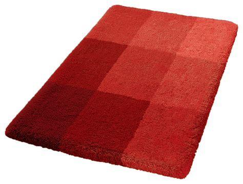 Luxury Non Slip Washable Bathroom Rug, Garnet Red, Square
