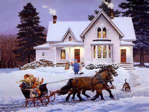 Coming home for christmas painting sledge wallpaper
