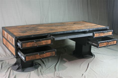 reclaimed wood desk with drawers combine 9 industrial furniture rustic industrial desk