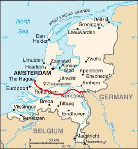 netherlands borders map the rhine in