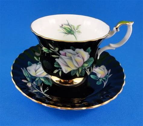 White Roses on Black Background Royal Albert Tea Cup and