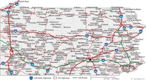 pa texas map an easy to read pennsylvania road map