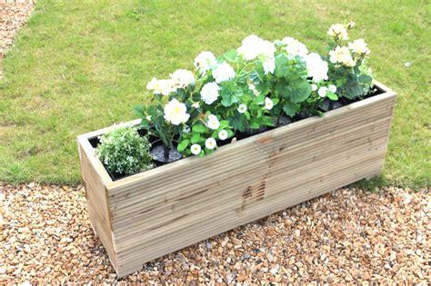 large wooden garden planter trough veg bed plant pot