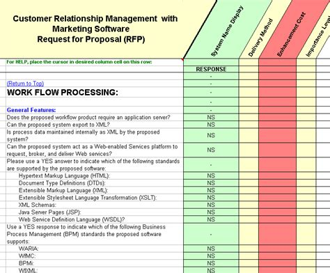 crm rfp template crm software evaluation selection customer relationship