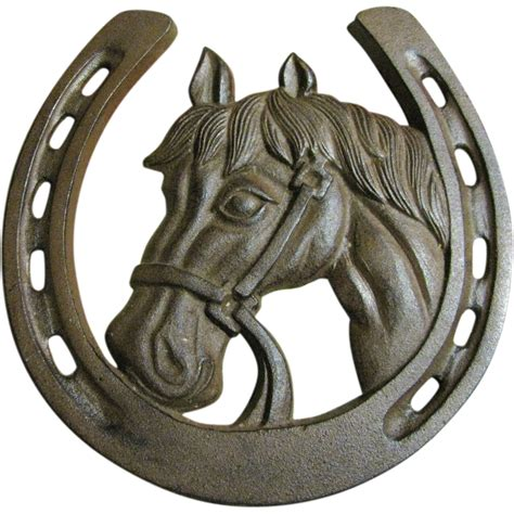 Horse Statue Home Decor large 10 quot lucky cast iron horseshoe with a horses head