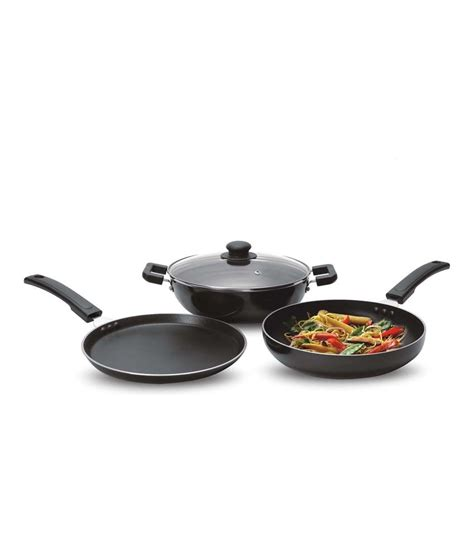 Fry Pan Oxone 3 Pcs Mini Cookware Set Ox 81 ok 3 pcs induction base cookware gift set tawa kadhai and fry pan buy at best price