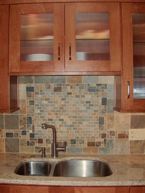 custom tile border in backsplash craftsman kitchen