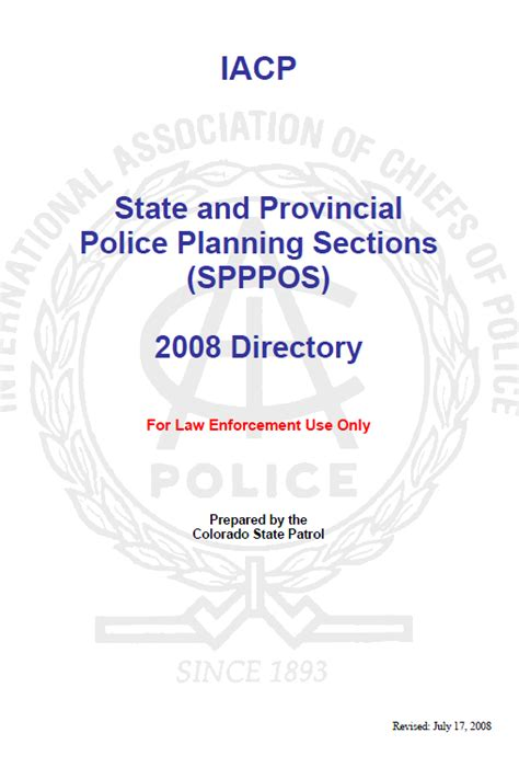 Iacp State And Provincial Police Planning Sections Spppos