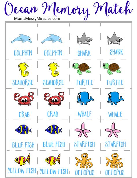 printable match up games printable ocean memory game the shirley journey