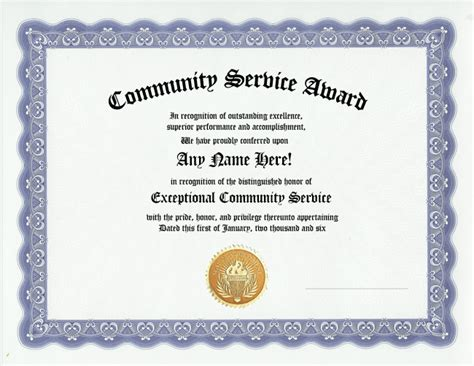 community service award certificate work recognition ebay