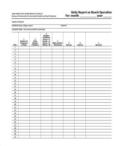 daily report template sle daily report 13 documents in word pdf