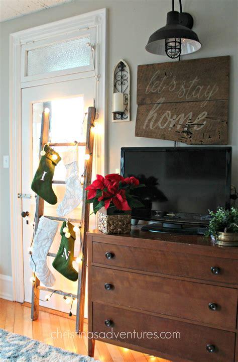 Ballard Designs Christmas Stockings how to hang stockings on a ladder christinas adventures