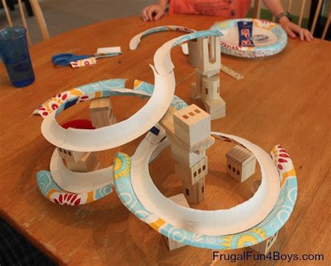Paper Crafts For Boys - paper plate marble track frugal for boys and