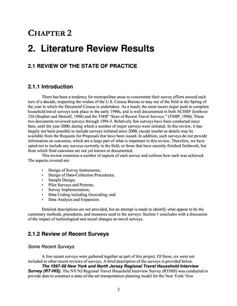 Sle Of Journal Literature Review by 2 Literature Review Results Technical Appendix To Nchrp Report 571 Standardized Procedures