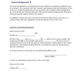 Acknowledgement Declaration Letter Sle Notary Form Nomadconvoy Co